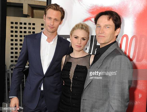 Actors Alexander Skarsgard Anna Paquin and Stephen Moyer arrive at HBO True Blood season 5 premiere held at ArcLight Cinemas Cinerama Dome on May 30...