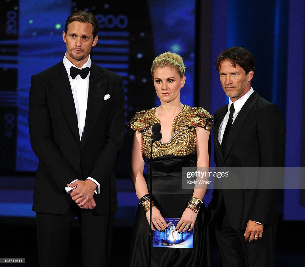Actors Alexander Skarsgard, Anna Paquin, and Stephen Moyer speak onstage at the 62nd Annual Primetime Emmy Awards held at the Nokia Theatre L.A. Live on August 29, 2010 in Los Angeles, California.