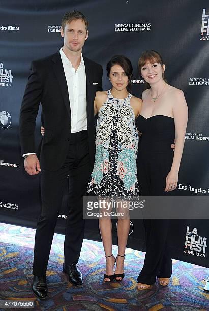 Actors Alexander Skarsgard Bel Powley and director Marielle Heller arrive at the 2015 Los Angeles Film Festival screening of Diary Of A Teenage Girl...