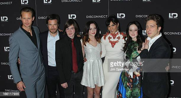 Actors Alexander Skarsgard Jason Bateman Jonah Bobo Haley Ramm Paula Patton Andrea Riseborough director Henry Alex Rubin attend Disconnect New York...