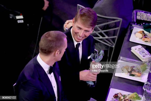 Actors Alexander Skarsgård and Jack McBrayer attend the 24th Annual Screen Actors Guild Awards at The Shrine Auditorium on January 21 2018 in Los...