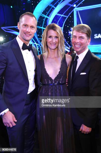 Actors Alexander Skarsgård Laura Dern and Jack McBrayer attend the 24th Annual Screen Actors Guild Awards at The Shrine Auditorium on January 21 2018...