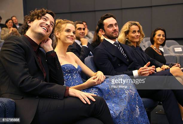 Actors Alexander Vlahos Noemie Schmidt and George Blagden sit with Nathalie Broadhurst Deputy Chief of Mission Embassy of France and Liz Janneman EVP...
