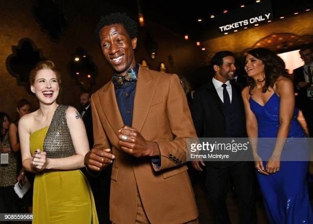 Actors Alexandra Breckenridge Jermel Nakia Jon Huertas and Mandy Moore celebrate win for Outstanding Performance by an Ensemble in a Drama Series...