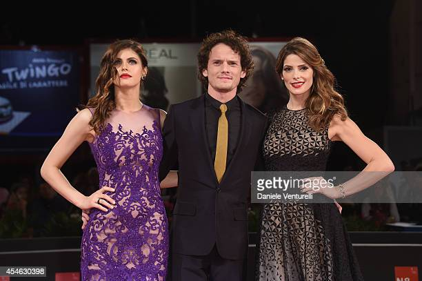 Actors Alexandra Daddario Anton Yelchin and Ashley Greene attend 'Burying The Ex' Premiere during the 71st Venice Film Festival at Sala Grande on...