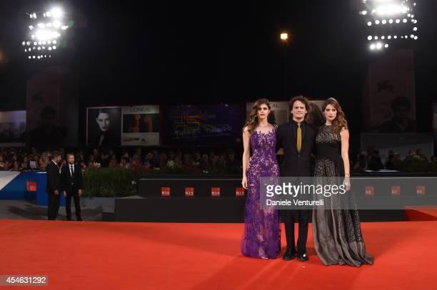 Actors Alexandra Daddario Anton Yelchin and Ashley Greene attend 'Burying The Ex' Premiere during the 71st Venice Film Festival at Sala Grande on...