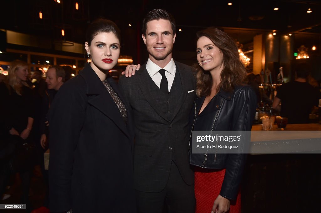 Actors Alexandra Daddario, Robbie Amell and Shelley Hennig attend the after party for a special screening of Netflix's 'When We First Met' at ArcLight Hollywood on February 20, 2018 in Hollywood, California.