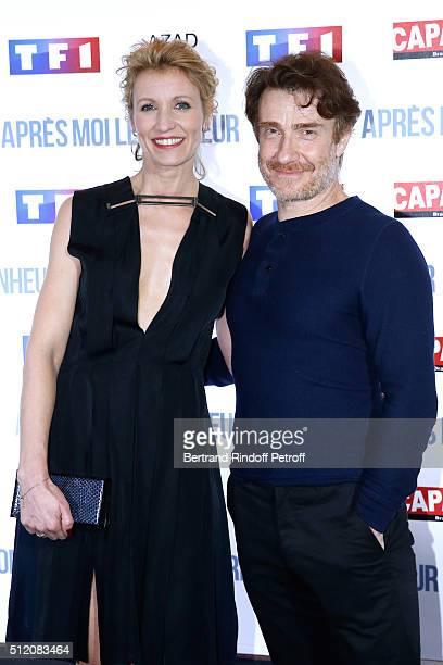 Actors Alexandra Lamy and Thierry Fremont attend the 'Apres Moi Le Bonheur' Paris Photocall at Cinema Gaumont Marignan on February 24 2016 in Paris...