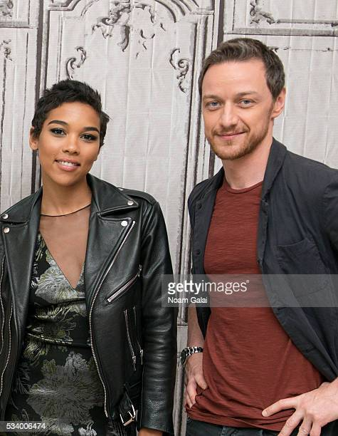 Actors Alexandra Shipp and James McAvoy visit AOL Build to discuss 'XMen Apocalypse' at AOL Studios in New York on May 24 2016 in New York City