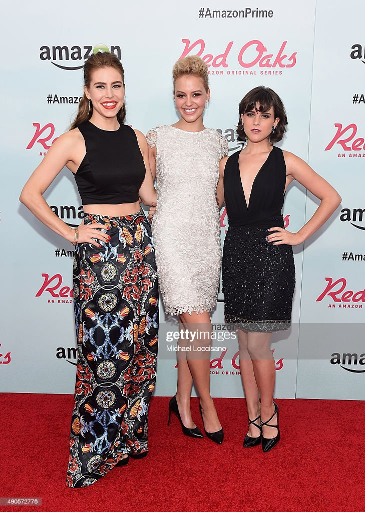 Actors Alexandra Turshen, Gage Golightly and Alexandra Socha attend the Amazon red carpet premiere for the brand new original comedy series 'Red Oaks' on September 29, 2015 in New York City.