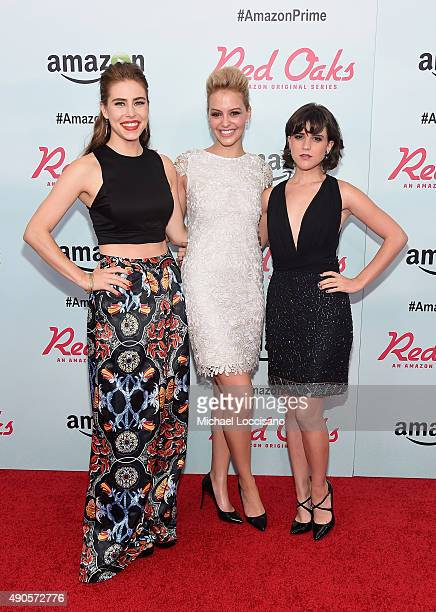 Actors Alexandra Turshen Gage Golightly and Alexandra Socha attend the Amazon red carpet premiere for the brand new original comedy series 'Red Oaks'...