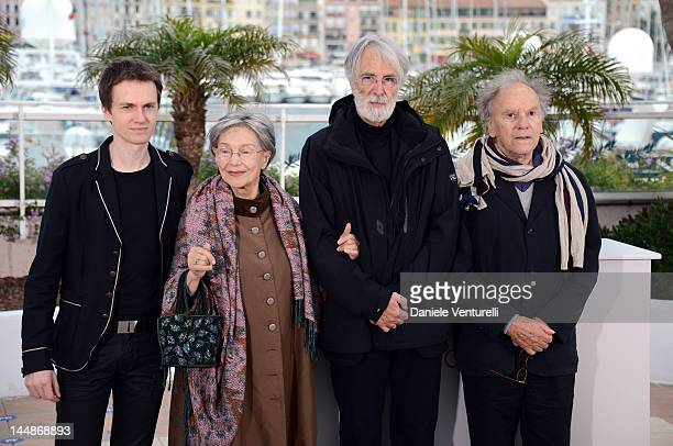 """Actors Alexandre Tharaud, Emmanuelle Riva, director Michael Haneke and actor Jean-Louis Trintignant attend the """"Amour"""" Photocall during the 65th..."""