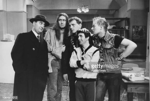 Actors Alexei Sayle, Nigel Planner, Rik Mayal, Christopher Ryan and Adrian Edmondson in a scene from the television sitcom 'The Young Ones', January...