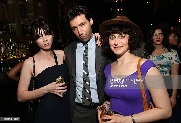 Actors Alexi Wasser Alex Karpovsky and Jenn Schatz attend the Los Angeles premiere of 'Nobody Walks' after party at Wood Vine on October 2 2012 in...