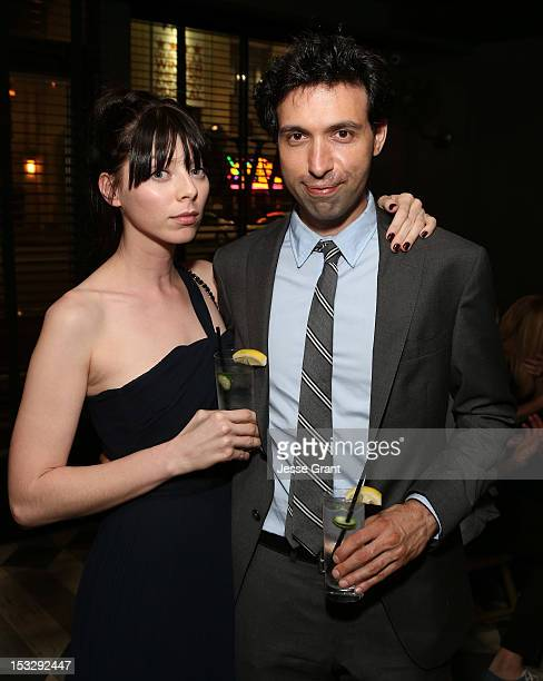 Actors Alexi Wasser and Alex Karpovsky attend the Los Angeles premiere of 'Nobody Walks' after party at Wood Vine on October 2 2012 in Hollywood...