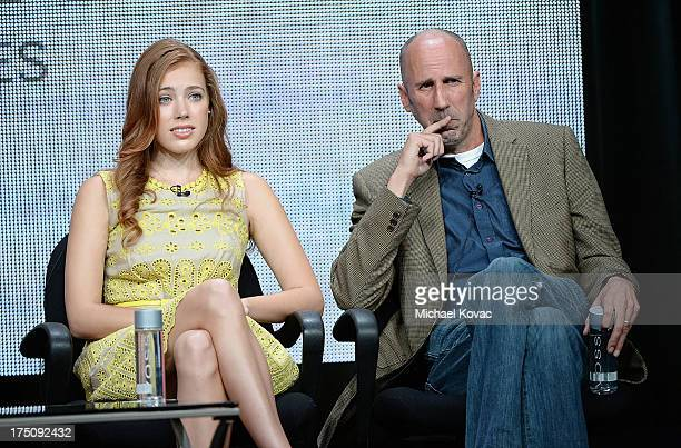 Actors Alexia Dox and Robert 'Bob' Clendenin speak onstage during the 'Quick Draw' portion of the Hulu 2013 Summer TCA Tour at The Beverly Hilton...