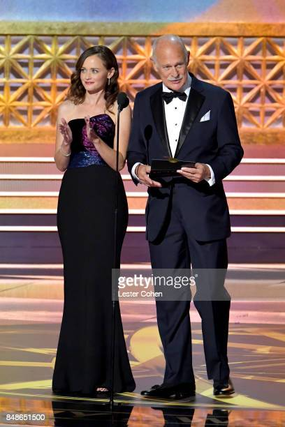 Actors Alexis Bledel and Gerald McRaney speak onstage during the 69th Annual Primetime Emmy Awards at Microsoft Theater on September 17 2017 in Los...