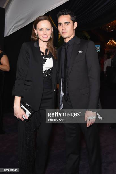 Actors Alexis Bledel and Max Minghella attend FOX FX and Hulu 2018 Golden Globe Awards After Party at The Beverly Hilton Hotel on January 7 2018 in...