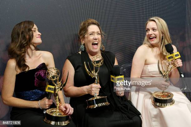Actors Alexis Bledel, Ann Dowd, and Elisabeth Moss, winners of the award for Outstanding Drama Series for 'The Handmaid's Tale,' attend IMDb LIVE...
