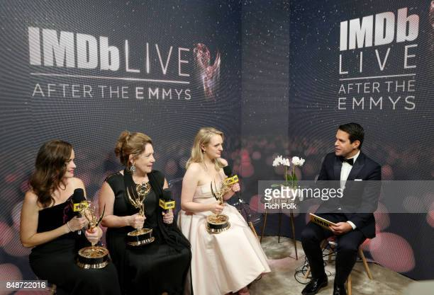 Actors Alexis Bledel, Ann Dowd, and Elisabeth Moss, winners of the award for Outstanding Drama Series for 'The Handmaid's Tale,' and host Dave Karger...