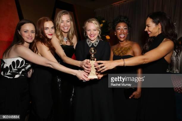 Actors Alexis Bledel Madeline Brewer Yvonne Strahovski Elisabeth Moss Samira Wiley and Amanda Brugel attend Hulu's 2018 Golden Globes After Party at...
