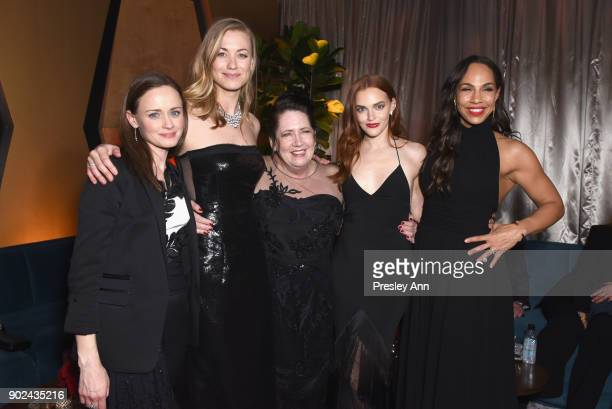 Actors Alexis Bledel Yvonne Strahovski Ann Dowd Madeline Brewer and Amanda Brugel attend FOX FX and Hulu 2018 Golden Globe Awards After Party at The...