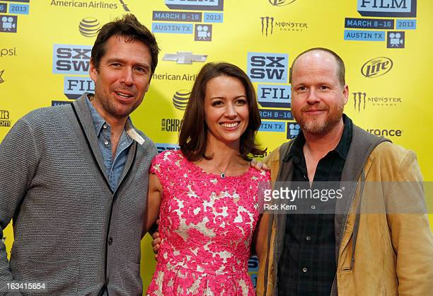 "Actors Alexis Denisof, Amy Acker and writer/director Joss Whedon arrive at the screening of ""Much Ado About Nothing"" during the 2013 SXSW Music, Film..."