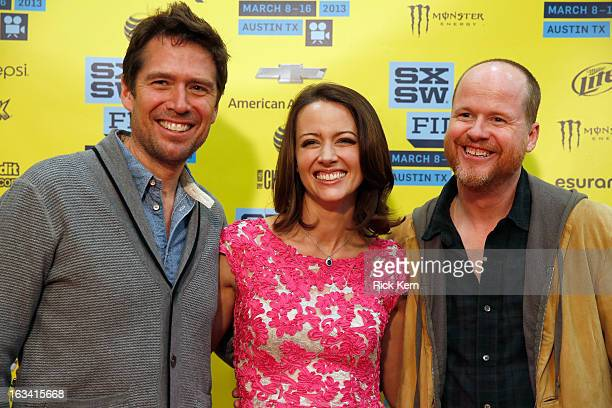 Actors Alexis Denisof Amy Acker and writer/director Joss Whedon arrive at the screening of Much Ado About Nothing during the 2013 SXSW Music Film...