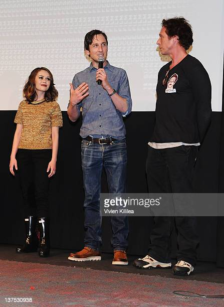 Actors Alexis Dziena Jack Plotnick and William Fichtner attend the 'Wrong' Premiere and party at Fuego Pizzeria during the 2012 Sundance Film...