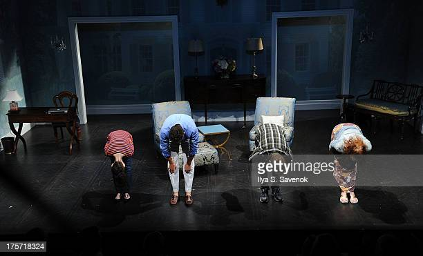 Actors Alexis Molnar Paul Anthony Stewart Randy Harrison and Erin Cummings take a bow during 'Harbor' Opening Night at 59E59 Theaters on August 6...