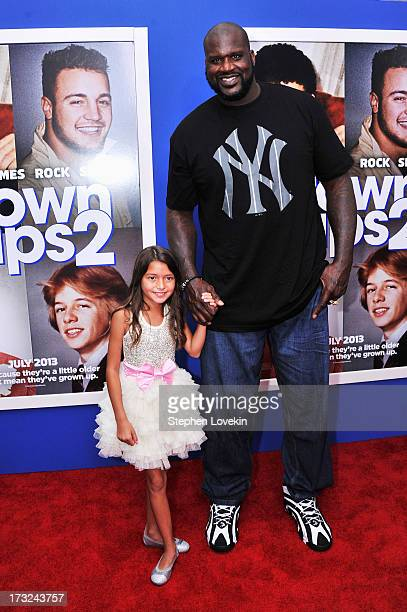 Actors Alexys Nycole Sanchez and Shaquille O'Neal attend the 'Grown Ups 2' New York Premiere at AMC Lincoln Square Theater on July 10 2013 in New...