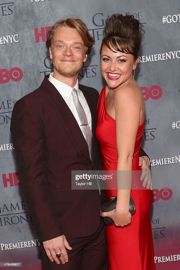 Actors Alfie Allen and Jaime Winstone attend the 'Game Of Thrones' Season 4 premiere at Avery Fisher Hall, Lincoln Center on March 18, 2014 in New York City.