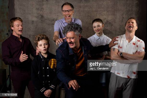 Actors Alfie Allen Roman Griffin Davis Stephen Merchant director Taika Waititi Thomasin McKenzie and Sam Rockwell from 'Jojo Rabbit' are photographed...
