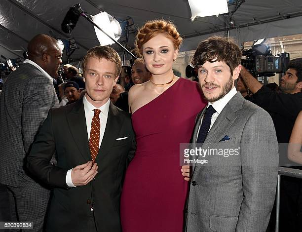 Actors Alfie Allen Sophie Turner and Iwan Rheon attend the premiere for the sixth season of HBO's 'Game Of Thrones' at TCL Chinese Theatre on April...