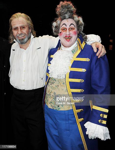Actors Alfie Boe and Matt Lucas pose backstage following their debut performance in the West End production of Les Miserables at The Queen's Theatre...