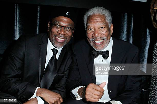 Actors Alfonso Freeman and father Morgan Freeman attend The Weinstein Company's 2012 Golden Globe Awards After Party with Chopard Marie Claire and HP...