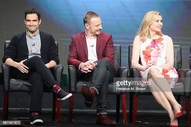 Actors Alfonso Herrera Ben Daniels and Geena Davis speak onstage at 'The Exorcist' panel discussion during the FOX portion of the 2016 Television...