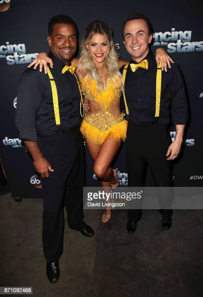Actors Alfonso Ribeiro and Frankie Muniz pose with dancer Witney Carson at 'Dancing with the Stars' season 25 at CBS Televison City on November 6...