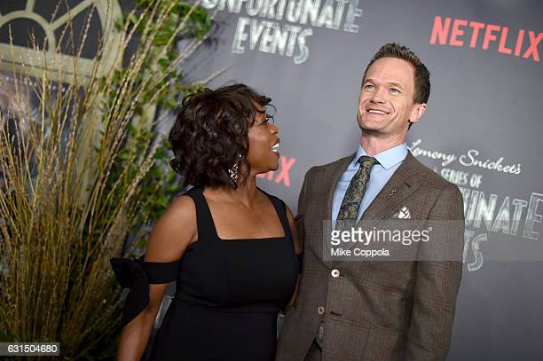 Actors Alfre Woodard and Neil Patrick Harris attend the Lemony Snicket's A Series Of Unfortunate Events Screening at AMC Lincoln Square Theater on...