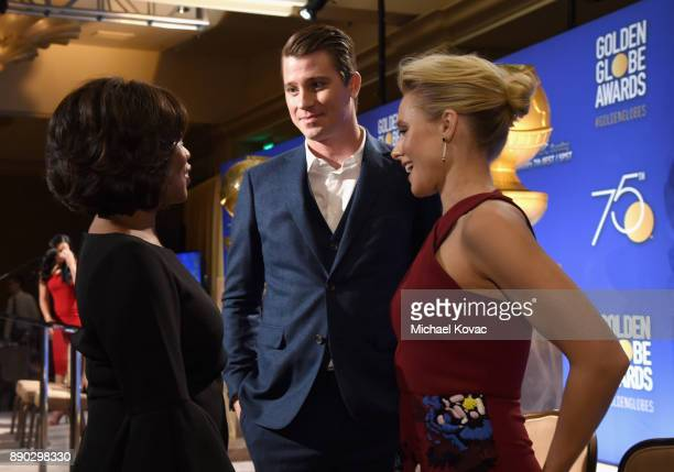 Actors Alfre Woodard Garrett Hedlund and Kristen Bell attend Moet Chandon Toasts The 75th Annual Golden Globe Awards Nominations at The Beverly...