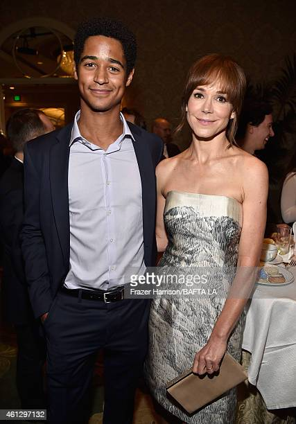 Actors Alfred Enoch and Frances O'Connor attend the BAFTA Los Angeles Tea Party at The Four Seasons Hotel Los Angeles At Beverly Hills on January 10...
