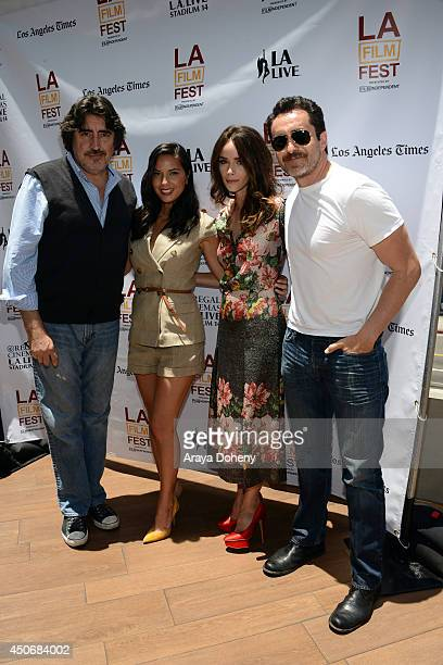Actors Alfred Molina Olivia Munn Abigail Spencer and Demian Bichir attend Coffee Talks Actors during the 2014 Los Angeles Film Festival at Luxe City...
