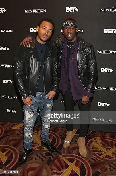 Actors Algee Smith and Elijah Kelley attend the New Edition Story BET AMC Screenings Tour New York on January 14 2017 in New York City