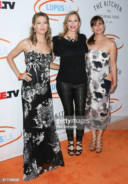 Actors Ali Hillis Meredith Monroe and Kellie Martin attend the Lupus LA's 2017 Orange Ball Rocket To A Cure at The California Science Center on April...
