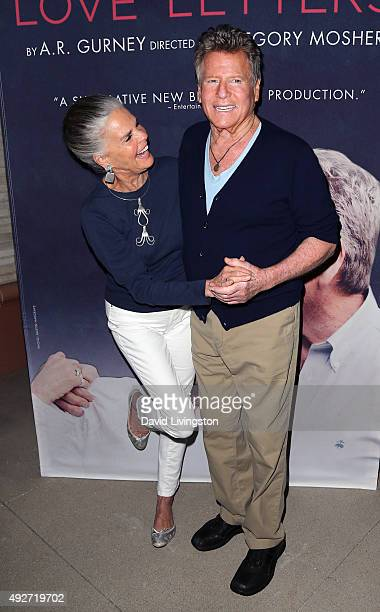 Actors Ali MacGraw and Ryan O'Neal attend the curtain call for 'Love Letters' at the Wallis Annenberg Center for the Performing Arts on October 14...