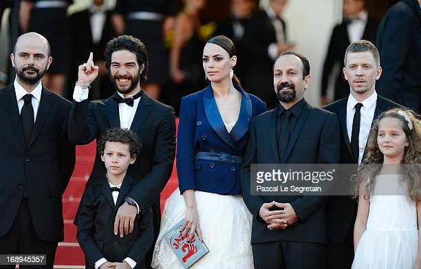 Actors Ali Mosaffa Tahar Rahim actress Berenice Bejo director Asghar Farhadi producer Alexandre MalletGuy actress Jeanne Jestin and actor Elyes Aguis...