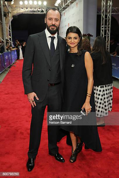 Actors Ali Suliman and Ahd Kamel attend the 'Zinzana ' premiere during day two of the 12th annual Dubai International Film Festival held at the...