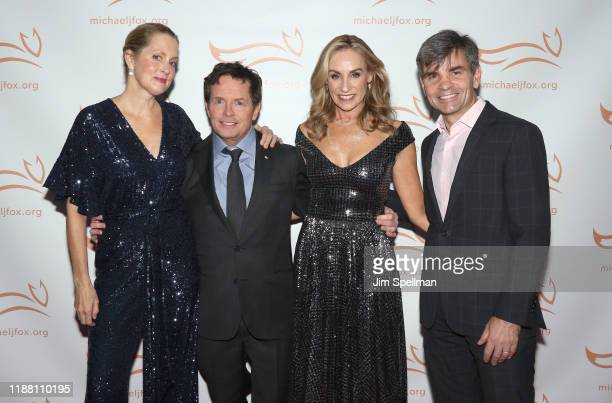 Actors Ali Wentworth actors Michael J Fox Tracy Pollan and TV host George Stephanopoulos attend the 2019 A Funny Thing Happened On The Way To Cure...