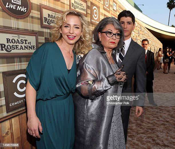 Actors Alicia Goranson Roseanne Barr and Michael Fishman arrive at the Comedy Central Roast of Roseanne Barr at Hollywood Palladium on August 4 2012...