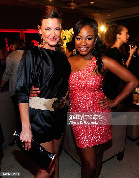 Actors Alicia Lagano and Naturi Naughton attend the red carpet launch party for Lifetime and Sony Pictures' 'The Client List' at Sunset Tower on...